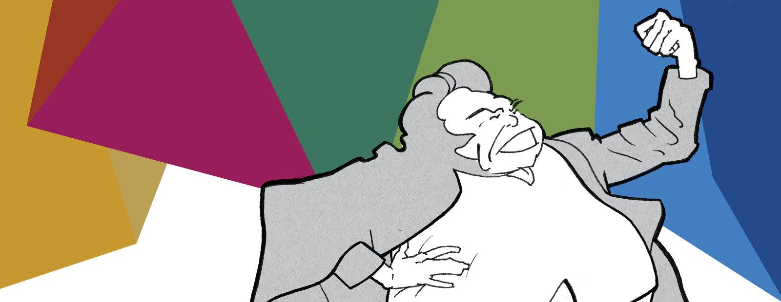 Illustrasjonstegning av Bjørnstjerne Bjørnson som hever neven.