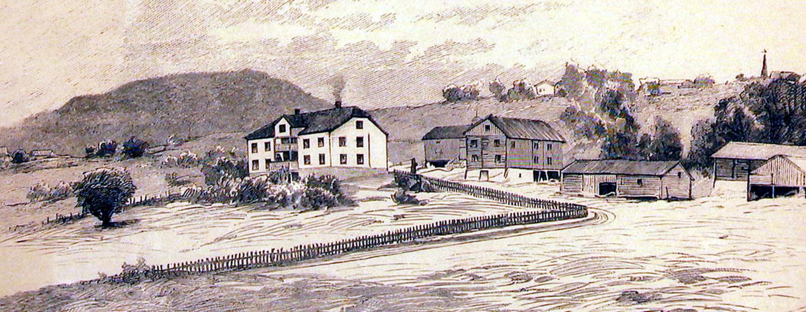 Tegning av Aulestad, ca 1890